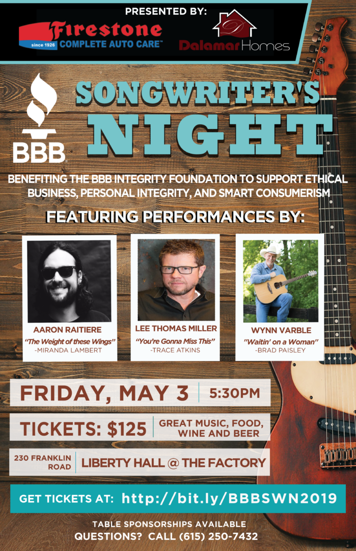 BBB Songwriters Night, music events in Franklin, TN, Brentwood, TN and Williamson County, TN on FranklinIs.