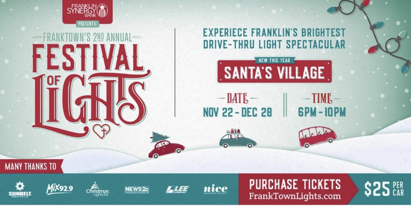 Festival of Lights Franklin, TN, events for the holidays, Christmas events and activities for family and kids!