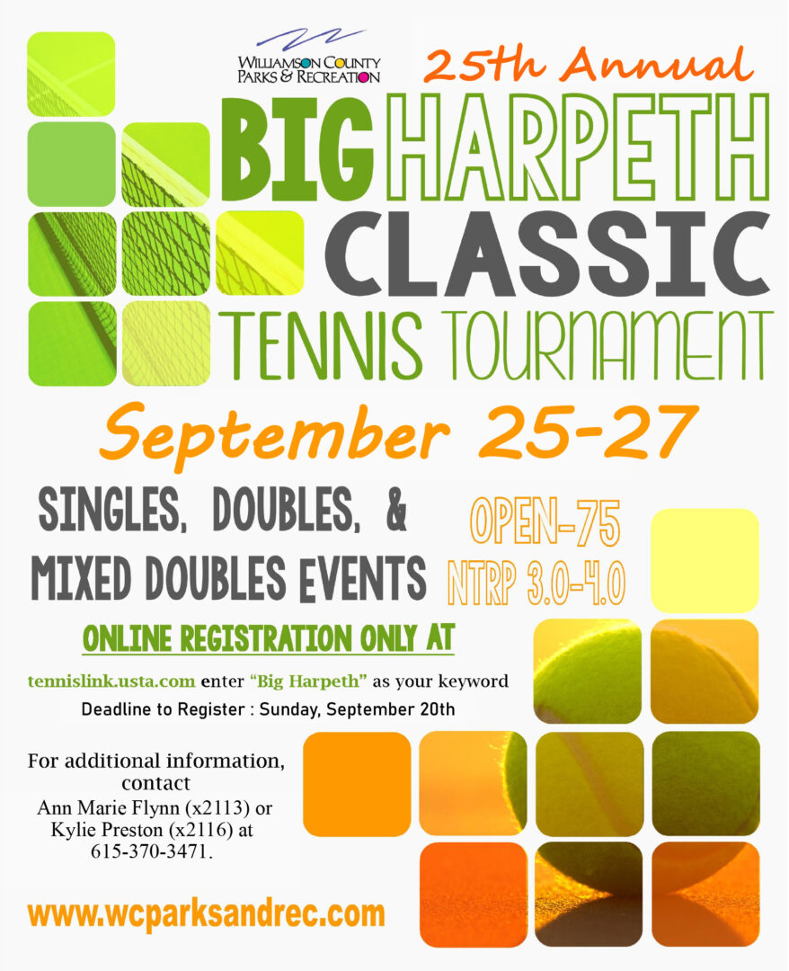 Tennis tournaments in Franklin and Williamson County, TN.