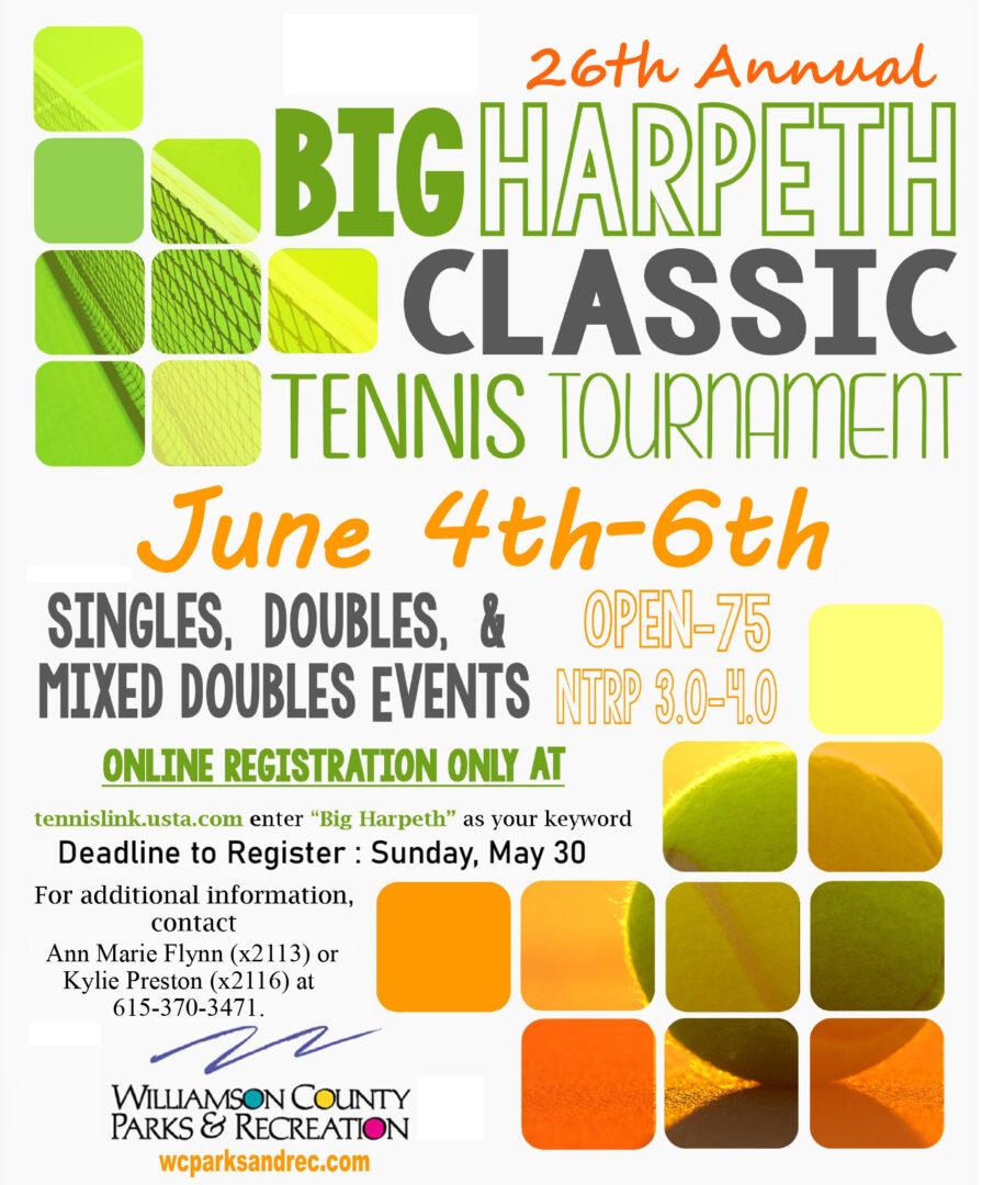 Big Harpeth Classic Adult Tennis Tournament in Williamson County, TN.