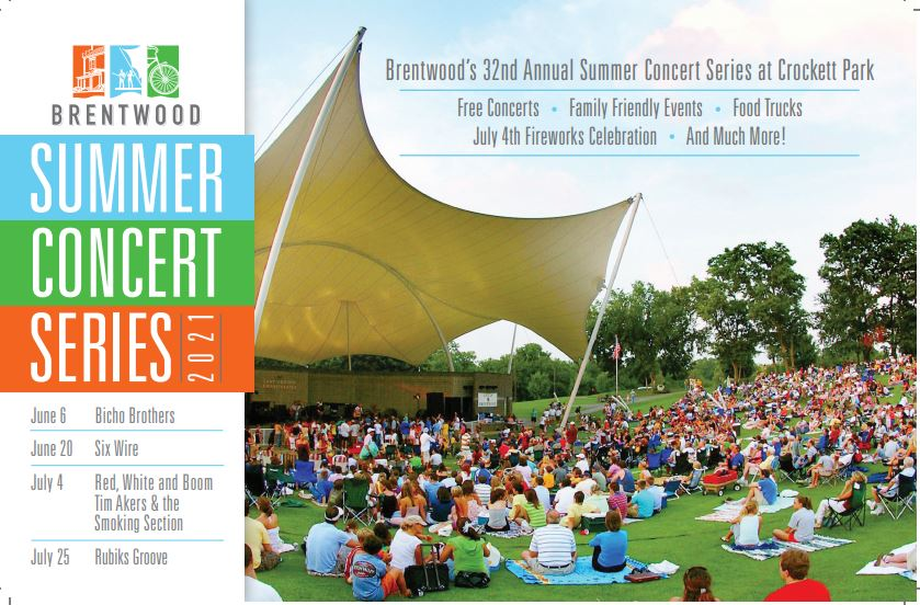 Free outdoor concerts in brentwood, TN, family friendly fun, food trucks, live entertainment and more - Brentwood Summer Concert Series!