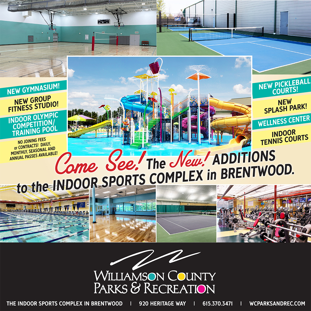 Indoor Sports Complex in Brentwood, TN offers a Splash Park for kids, wellness center, an olympic sized competition and training pool, 5 indoor tennis courts, 4 outdoor pickle ball courts, a large group fitness studio and a spacious, new gymnasium.