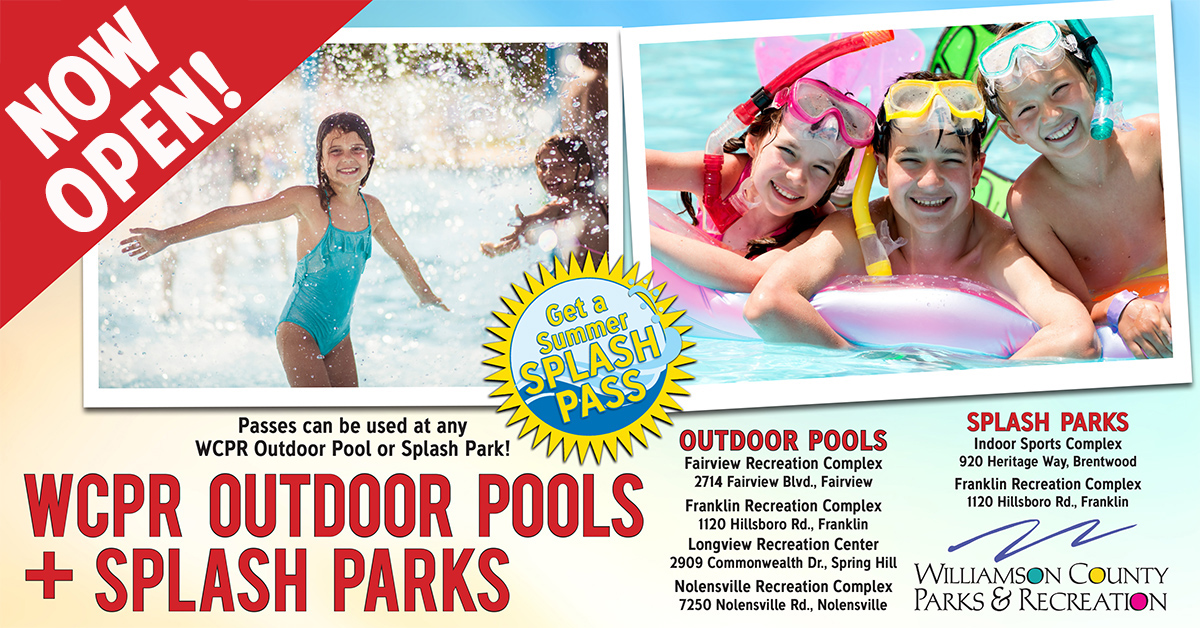 Williamson County Outdoor Pools & Splash Parks, fun family activities in Franklin, TN, Brentwood and Williamson County, TN.