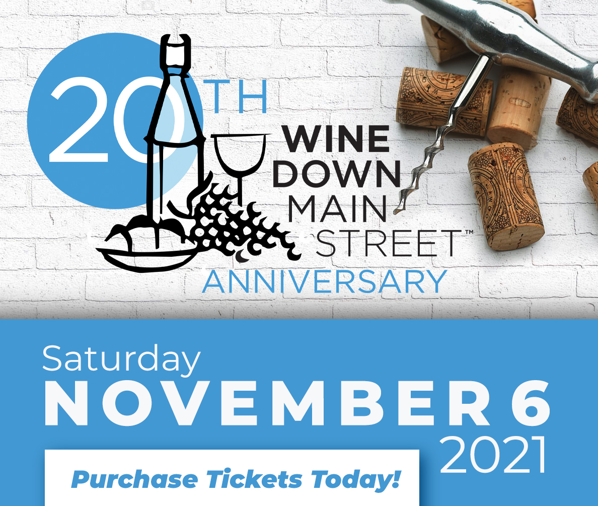 Wine Down Main Street ad, a wine tasting event in downtown Franklin, TN on historic main street with shopping, restaurants, live music and more!