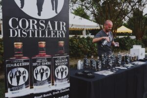 Corsair Distillery at Bootlegger's Bash, annual event in Franklin, TN featuring Tennessee distillers, a traditional Southern dinner and live entertainment featuring Rock & Roll Pianos – a dueling piano team.