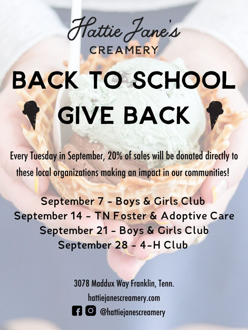Back to School Giveback poster from Hattie Jane's Creamery, ice cream shop in Franklin, Nashville, Murfreesboro and Columbia.