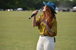 Layla Tucker singing National Anthem - Chukkers for Charity Franklin Event.