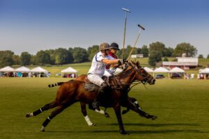 Polo action at Chukkers for Charity event in Franklin.